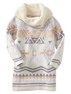 Tribal print cowlneck dress | Gap. I'm not wishing for the cold but if I lived in the cold Violet would totally be rocking this.