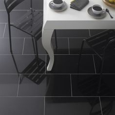 Black Granite Tile Flooring & Wall Tiles - 610x305mm | Lifestyle