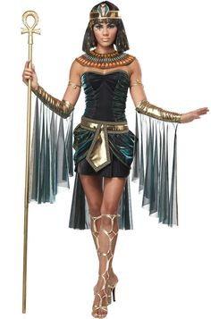 Egyptian Goddess Adult Costume includes a dress, glovelettes, belt, crown, and collar for an alluring look! Slip this on to transform into an Egpytian enchantress on Halloween night. <br><br><i>Staff not included.</i>