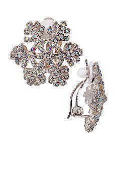Kim Rogers® Snowflake Button Clip Earrings