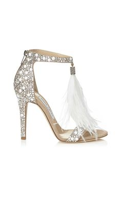Jimmy Choo Viola 110 White #Suede and Hot Fix Crystal Embellished #Sandals with an Ostrich Feather Tassel