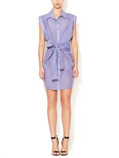 Cotton Silk Wrap Shirtdress