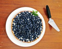 """Today is National Blueberry Day! Here is a quick snap of a Blueberry Mascarpone Tart. I used the cheese filling recipe from Chef Dennis Littley's """"No Bake Peach Tart"""" with an almond crust and a pound of organic blueberries. My Recipes, Dessert Recipes, Desserts, Cheesecake Trifle, Baked Peach, Organic Blueberries, Getting Hungry, Cupcake Cakes, Tart"""