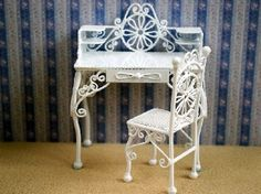 White Wire Desk And Chair (WW40) - White Wire Furniture. Over 10,000 similar dolls house miniature products available from www.thedollshousestore.co.uk