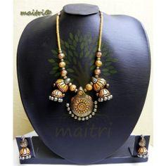 Terracotta Jewellery  - Gold Heavy Exclusive set  https://www.facebook.com/maitricrafts.maitri https://www.facebook.com/maitricrafts. maitri_crafts@yahoo.com