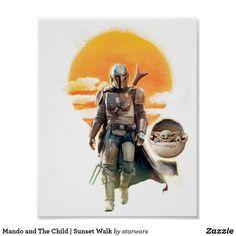 Mando and The Child | Sunset Walk Poster Star Wars Baby, Animal Posters, Star Wars Poster, Star Wars Rebels, Mandalorian, Custom Posters, Custom Framing, Poster Prints, Sunset
