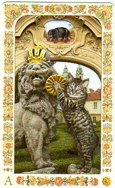 This is the Ace of Pentacles from the First Edition Baroque Bohemian Cats Tarot by Karen Mahoney and Alex Ukolov at Baba Studios. https://www.facebook.com/BabaStudios http://78whispers.blogspot.com/