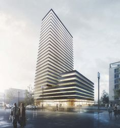 Grüntuch Ernst Architekten has been named the first-prize winner in a competition to design the Porsche Design Tower, a new apartment building in Frankfurt. Tower Building, High Rise Building, Building Facade, Building Design, Architecture Visualization, Facade Architecture, Classical Architecture, Concrete Facade, Tower Design
