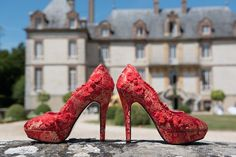 Red and gold unique wedding shoes | David Bacher Photography