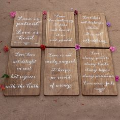 This Set Of Six Wedding Aisle Signs Displays The Beautiful Corinthians 13 Love Is Patient