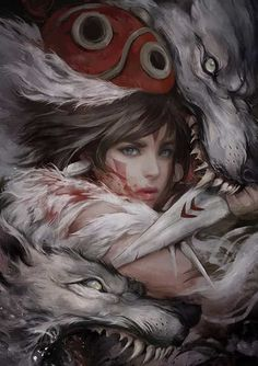 Classic Anime Princess Mononoke Art by Ignatius Tan Art Anime, Manga Art, Manga Anime, Art Studio Ghibli, Studio Ghibli Movies, Fantasy Kunst, Fantasy Art, Dark Fantasy, Mononoke Anime