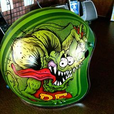 this is a project I had a few months ago for an art show in BC Motorcycle Helmet Design, Motorcycle Tank, Women Motorcycle, Ed Roth Art, Vintage Helmet, Helmet Paint, Custom Helmets, Rat Fink, Garage Art
