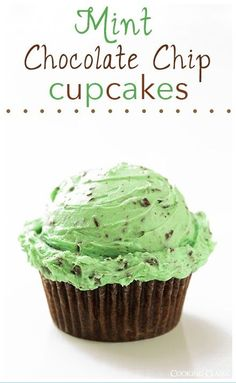 Chocolate #Cupcakes with Fluffy Mint Chocolate Chip Buttercream Frosting