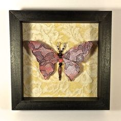 Beaded Butterfly Pink and Black Shadowbox by AuroraRosealis, $35.00 New lace on the wings, beautiful vintage lace on the background.