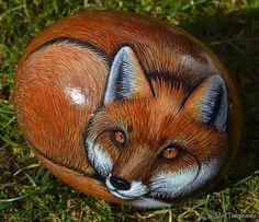Painting Animals On Rocks: Fox by WildArtTreasures on Etsy