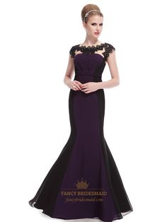 Dark Purple And Black Prom Dresses,Dark Purple Mermaid Prom Dresses With Lace Cap Sleeves