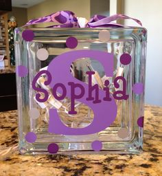 Personalized Vinyl Glass Block Light or Bank by TheStylishLetter, $22.00