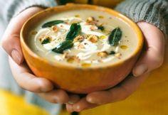 Celeriac Soup with Hazelnuts & Crispy Sage - Anna Jones Celeriac Recipes, Celeriac Soup, Sage Recipes, Veggie Recipes Healthy, Vegan Recipes, Vegan Pumpkin Soup, Celerie Rave, Spinach Soup, Seasonal Food