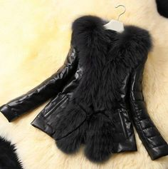Fashion Women Faux Fur Coat Jackets Women Clothing Leather PU Outwear Short Jacket