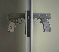 The Bang Bang Handle is a concept designed by Nikita Kovalev that replaces the traditional door knob with the handle of a pistol. I think it'd cause a pote