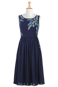 Officiant dress? Would so with short or elbow length sleeve. I <3 this Leafy vine embellished crepe dress from eShakti