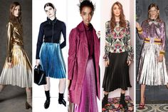 Metallic pleated skirts at No.21, 3.1 Phillip Lim, Zac Zac Posen, Nicole Miller and GucciMidi seems to be the length of the season, so if you're going to go that route, why not add a bit of metallic fun?.