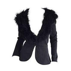 Sensational Vintage Lilli Diamond Black Feather Jacket Cardigan