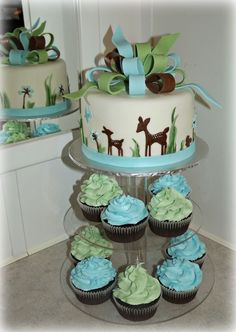 woodland deer baby shower — Cupcake & Cake combo (minus that horrific bow! Deer Baby Showers, Baby Shower Cakes For Boys, Baby Shower Cookies, Baby Boy Shower, Fondant, Bebe Shower, Deer Cakes, Woodland Cake, Oh Deer