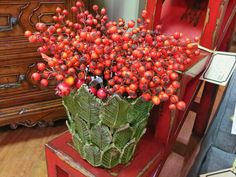 Add some great Fall color with beautiful red berries in a vase!