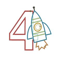 Number with any theme applique Rocket Ship Party, Machine Applique Designs, Baby 1st Birthday, Design Files, Grandchildren, Party Themes, Numbers, Parties, Personalized Items