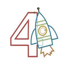 INSTANT DOWNLOAD, Machine Applique Design, Number Four with Rocket