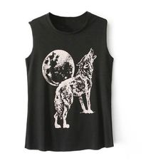 Howling Wolf Print Tank Top featuring polyvore, women's fashion, clothing, tops, stylemoi, cami shirt, crop tank top, cropped cami, cami top and crop tank