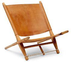 Ole Gjerlov-Knudsen; Ash and Leather 'Fireside Sawbuck' Chair for Interna, 1966.