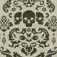BRADLEY's Phillip Barlow Macabre Printed Linen Fabric in Charcoal.