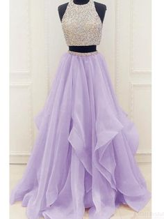 Two Pieces Beading Bodice Long Layers Prom Dresses Evening Dresses #promdresses #SIMIBridal