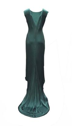 LANVIN  Green Hi Lo Maxi Formal Dress with Train Sz 40 280742CB #Lanvin #HiLowGown #Formal