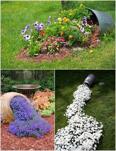Cool Spilled Flower Beds. Clever Clever! And great way to use broken pots!                                                                                                                                                                                 Más