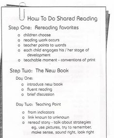 Shared Reading - this is a great paper explaining in concise detail what exactly shared reading is and how to do shared reading in the classroom Guided Reading Groups, Reading Lessons, Reading Resources, Reading Strategies, Reading Activities, Reading Skills, Reading Comprehension, Reading Lesson Plans, Literacy Activities