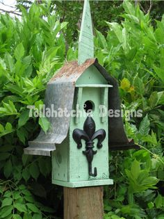 Off FLASH SALE Mission Style Reclaimed Wood & Metal Birdhouse With Fleur Di Liss Ornamental Perch, Rustic Birdhouse, Primitive Birdhouse Rustic Bird Feeders, Bird House Feeder, Metal Roof, Wood And Metal, Reclaimed Barn Wood, Bird Houses, Outdoor Decor, Rustic Birdhouses, Birdhouse Ideas