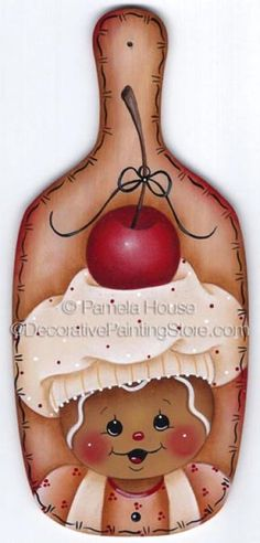 Cherry Surprise ePattern by Pamela House - PDF DOWNLOAD #DecorativePaintingStore #PamelaHouse #ginger #gingerbread #minibreadpaddle