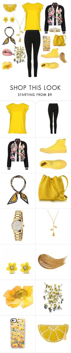 """YELLOW"" by explorer-15159904039 ❤ liked on Polyvore featuring Liviana Conti, Dolce&Gabbana, Converse, Henri Bendel, Lancaster, Gucci, WithChic, Too Faced Cosmetics, Casetify and Kayu"