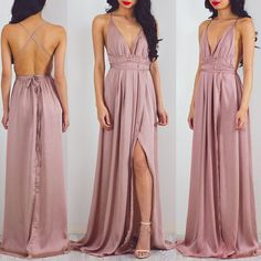 Beach Open Back Side Split Sexy Long Cheap Prom Dresses, PM0267 The dress is fully lined, 4 bones in the bodice, chest pad in the bust, lace up back or zipper back are all available. This dress could