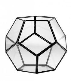 Sklenený čierny svietnik Dome, menší