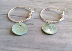 Green Shell Dangle Earrings on Silver Hoops Mother of Pearl