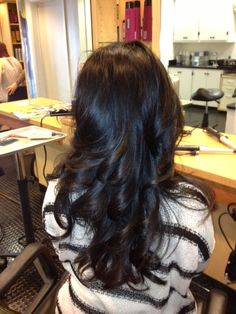 Isn't this cut + style by Alina glamorous!? #hairstyle #haircut #longhairdontcare #curls #blowout #rutgers #newbrunswick