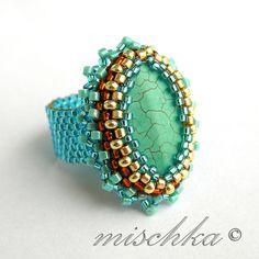 Turquise Ring by mischka.anna, via Flickr  #beadwork
