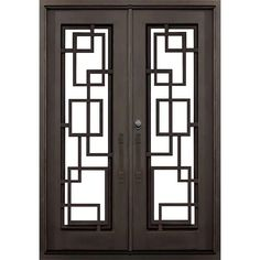 Florida Iron Doors 72 in. x 82 in. Andrews Dark Bronze Modern Full Lite Painted Wrought Iron Prehung Front Door (Hardware Included) Source by homedepot Window Grill Design Modern, Window Design, Exterior Doors, Entry Doors, Front Doors, Front Entry, Single Door Design, Iron Window Grill, Front Door Hardware