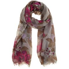 OASIS Neo Floral Scarf (69 HRK) ❤ liked on Polyvore featuring accessories, scarves, multi, floral scarves, floral print scarves, tassel scarves and floral shawl