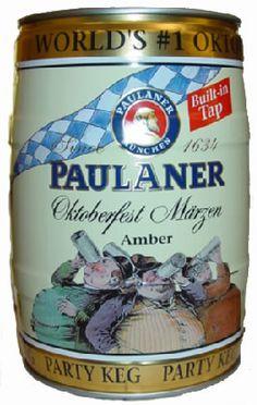 The famous seasonal German beer is malty and sweet, perfect during the fall Beer Keg, Beer Brewing, Home Brewing, Paulaner Oktoberfest, Oktoberfest Beer, Paulaner Bier, Pale Ale Beers, Spirit Drink, German Beer Steins