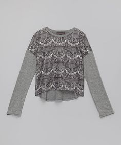 Heather Gray Lace Audra Tee - Girls by Soopergirl #zulily #zulilyfinds